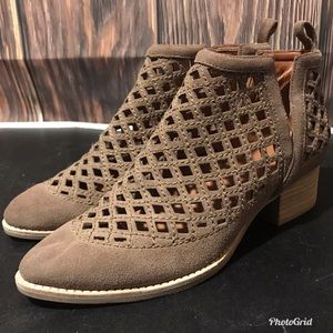 Jeffrey Campbell Tan Suede Cutout Taggart Boots